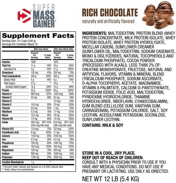 nutrition facts super mass